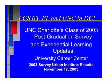 View the 2003 Graduate Survey Presentation - University Career ...