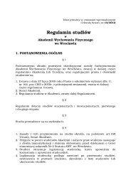 Regulamin studiów - Akademia Wychowania Fizycznego we ...