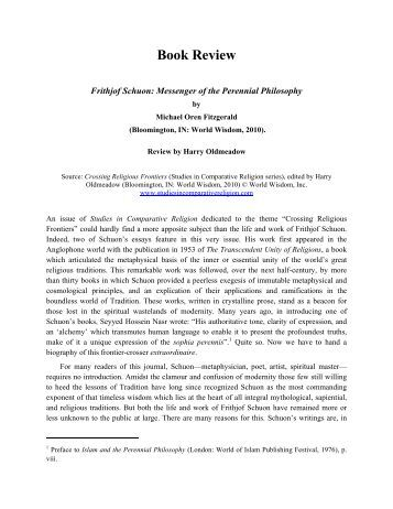 Frithjof Schuon: Messenger of the Perennial Philosophy - Studies in ...