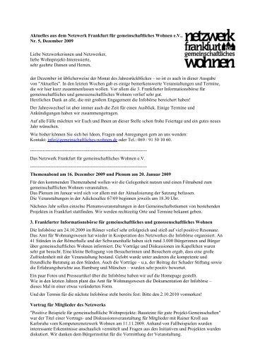 Nr. 5, Dezember - Netzwerk Frankfurt für gemeinschaftliches ...