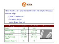 • Birla Modal Is a 2nd generation Cellulose fibre with a high wet ...