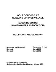 Rules and Regulations for Golf Condominium 3 - Sunland Springs ...