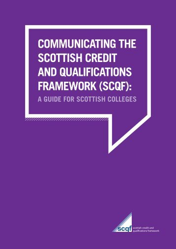 communicating the scottish credit and qualifications framework (scqf)