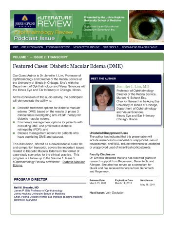Featured Cases: Diabetic Macular Edema (DME) - Hopkins CME Blog