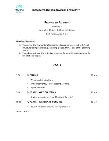 Meeting Agenda - PNCIMA