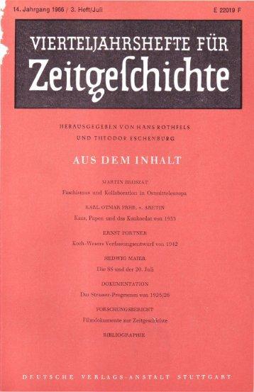 Vierteljahrshefte für Zeitgeschichte - Institut für Zeitgeschichte