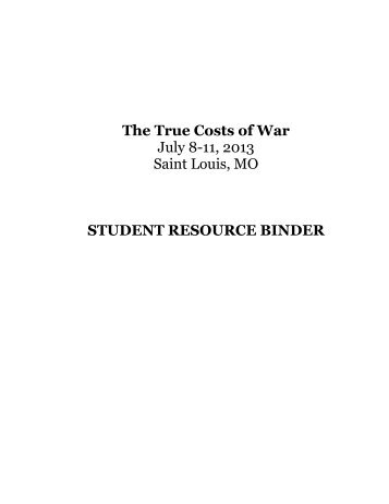 The True Costs of War Resource Binder - Foundation for Economic ...