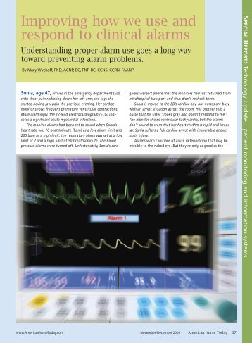 Improving how we use and respond to clinical alarms - American ...
