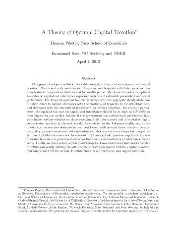 A Theory of Optimal Capital Taxation - Thomas Piketty
