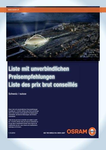 Preisempfehlungen 1.10.2010 - MLT Licht-Technik AG