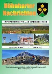 informationen für alle gemeindebürger ausgabe 1/2012 - Höhnhart