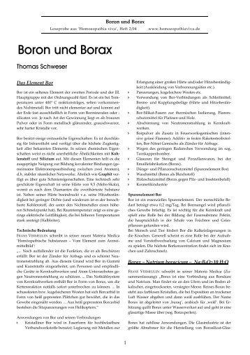 Boron und Borax - Homoeopathia viva