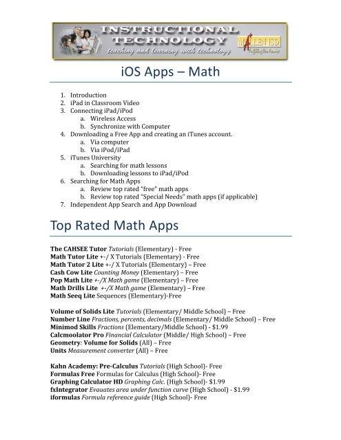 iOS Math Apps Agenda & Resources - McAllen ISD