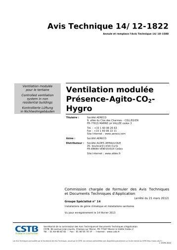 Avis Technique 14/12-1822 Ventilation modulée Présence ... - Aldes