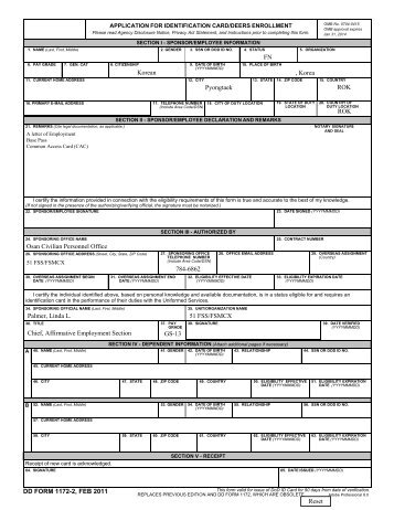 Form  Application For Identification CardDeers