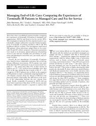 Managing End-of-Life Care: Comparing the Experiences of ...