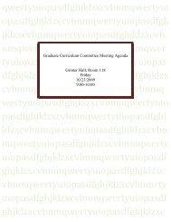 Graduate Curriculum Committee Meeting Agenda - Graduate School