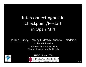 Interconnect Agnostic Checkpoint/Restart in Open MPI - HPDC