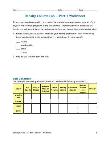 Nature's Density Column Worksheet - PolarTREC