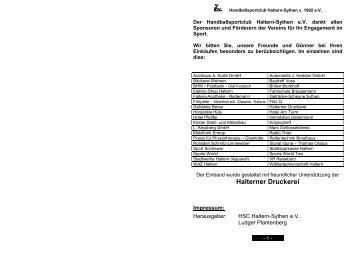 Halterner Druckerei - HSC Haltern-Sythen 1992 e. V.