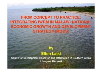 Laisi IWRM in Malawi, Incorporating IWRM in MGDS