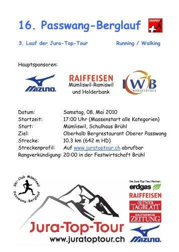 Ausschreibung Passwang-Berglauf 2010 Definitv - Jura-Top-Tour