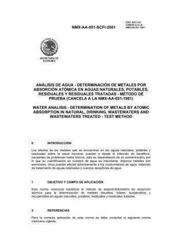 NMX-AA-051-SCFI-2001 ANÁLISIS DE AGUA ... - CONAGUA