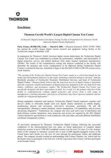 Thomson Unveils World's Largest Digital Cinema Test ... - Film-Tech