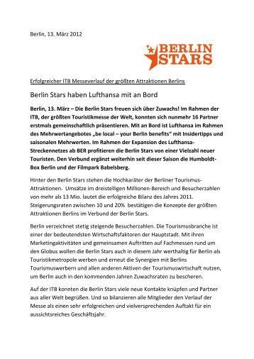 Berlin Stars haben Lufthansa mit an Bord - Humboldt-Box