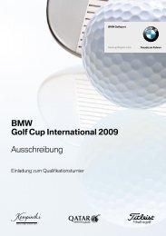 BMW Golf Cup International 2009 Ausschreibung