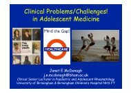 Clinical Problems/Challenges! in Adolescent Medicine - ESIM 2009