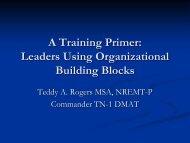 A Training Primer: Leaders Using Organizational Building Blocks