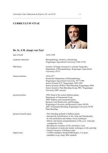 Dr. Jaap van Tuyl CV - The Lilium information page