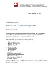 Einladung zur 35. Generalversammlung des VBSF