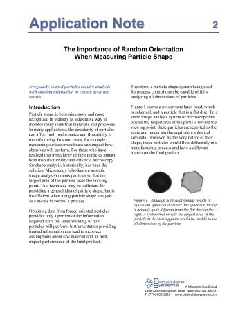 The Importance of Random Orientation When Measuring Particle ...