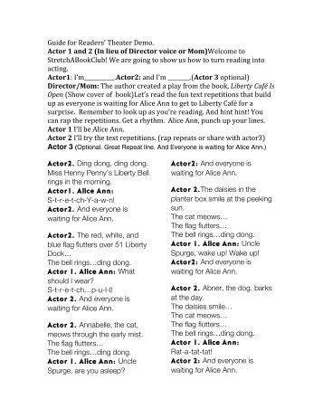 Reader's Theater demo script - Images Press