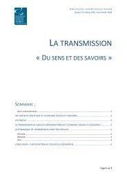 La transmission du sens et des savoirs 03-11-09 - CRESS PACA