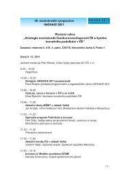 18. mezinárodní sympozium INOVACE 2011 Plenární ... - AIP ČR