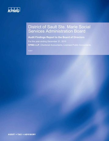 2010 DSSMSSAB Audit Findings Report - District of Sault Ste. Marie ...