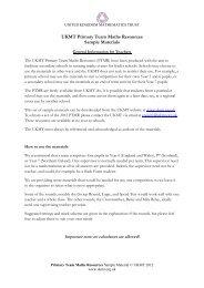 UKMT Primary Team Maths Resources Sample Materials - United ...