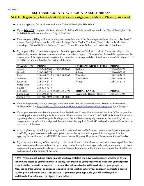 Address Form - Beltrami County