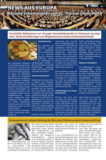 News aus Europa - Dr. Thomas Ulmer MdEP