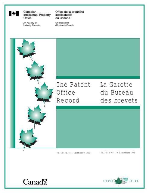 The Patent Office Record La Gazette Du Bureau Des Industrie Canada