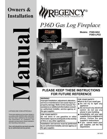 P36D Gas Log Fireplace