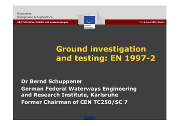 Ground investigation and testing: EN 1997-2 - Eurocodes - Europa