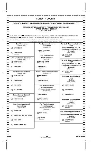 Consolidated Ballot - Republican - Forsyth County Government
