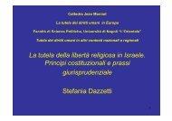 La tutela della libertà religiosa in Israele - Università degli studi di ...