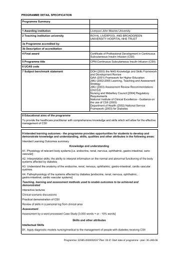 Continuous Subcutaneous Insulin Infusion (CSII) - Liverpool John ...