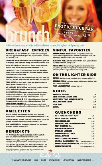 Rialto Cafe Brunch Menu