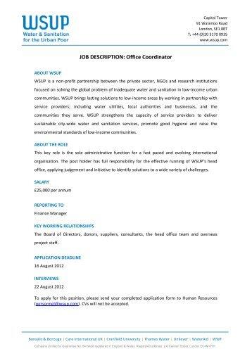office coordinator job description